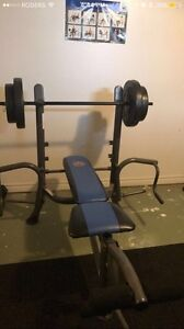 Multi exercise workout bench w/ weights & Exercise ball