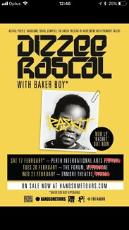 2 x standing Dizzee Rascal tickets at the Forum, Melbourne 20th Feb