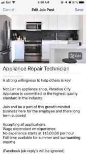 Paradise City Appliance is hiring!