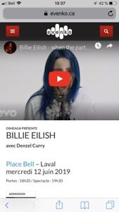1 billet Billie Eilish 12 juin Laval