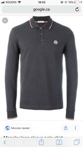 Moncler long sleeve darker grey polo shirt, MENS, AUTHENTIC!
