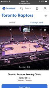 Raptors vs Hornets (Oct 22) Sec 310 Row 3 Aisle Seats $90/ticket