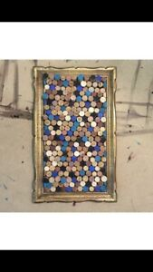 Hand painted  wine cork board art in vintage gold framw