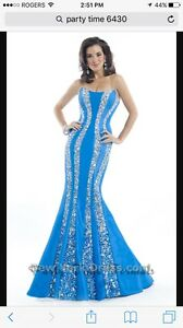 Ocean color party time designer prom/ party dress