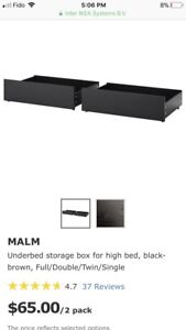 IKEA malm series bed drawers for extra storage