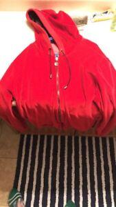 Red Versace zip hoodie size small men's