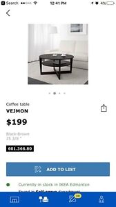 Vejmon ikea round coffee tables $170 FOR TWO! Great price!