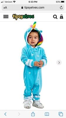 NWT Tipsy Elves Unicorn Halloween Costume Child Baby Toddler Jumpsuit 3T