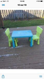 Ensemble table et chaises enfants