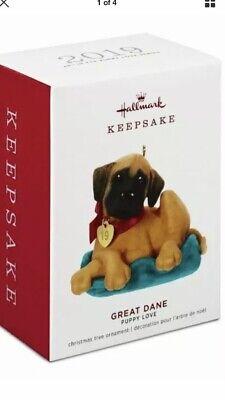 2019 PUPPY LOVE Great Dane Hallmark Keepsake Ornament NEW In Box Free Shipping Puppy Keepsake Box