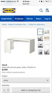Ikea Malm white gloss desk Frenchs Forest Warringah Area Preview