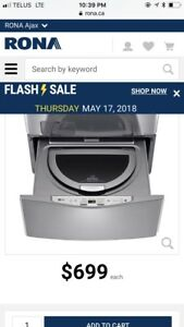 LG 1.1 cu. ft. SideKick Pedestal Washer in Graphite Steel