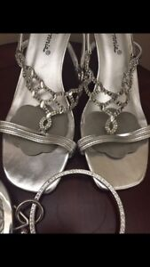Silver shoes and purse (7.5 wide)