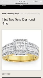 Urgent 18ct gold dress engagement  Princess Cut 1CT diamond Ring O'Connor Fremantle Area Preview