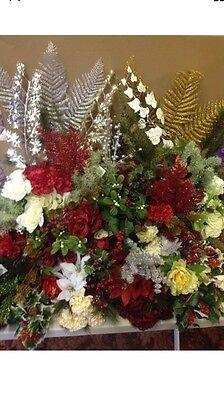 100x Artificial Christmas Bunches Fake Flowers Foliage Bushes Joblot Wholesale