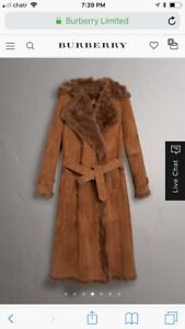 Stunning Burberry shearling trench coat