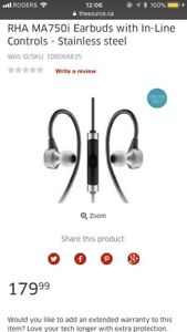 RHA MA750i EARBUDS  (current retail is $179.99)