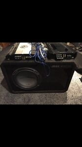 """10"""" jack hammer subwoofer with 2 amps and cables"""