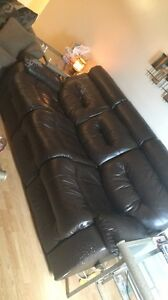 Brown leather couch recliner both sides