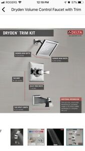 Dryden volume control faucet with trim by delta