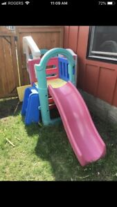 Playset and picnic table.
