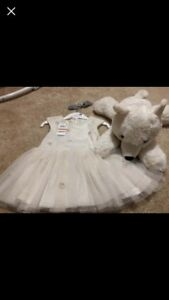12 Month Baby Girl Sparkle Dress & Bear - New W/Tags