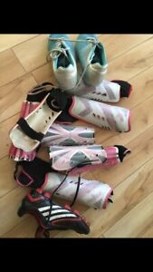 Youth soccer shin pads and cleats size 6 and 7