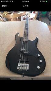 Black samick bass guitar