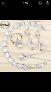 Bridal Jewelry set real sweet water pearl 925 silvery