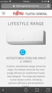 Brand new Fujitsu air conditioner 2.1 kw cooling only