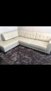 Faux leather sectional couch
