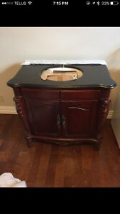 Single sink vanity with taps and granite countertop - brand new