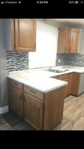 Complete kitchen cabinets with top and sink and faucet