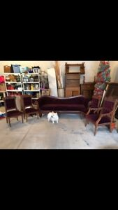 Purple crushed velvet couch and chairs for sale.