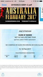 2x Gold Reserve Guns 'n' Roses Tickets. Face value. Dee Why Manly Area Preview