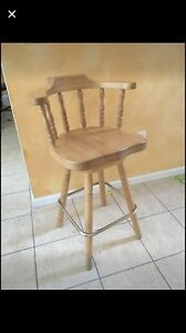 Counter height solid wood stool