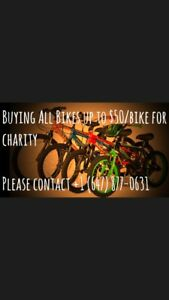 Buying bikes for charity