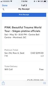 Tickets to Pink! In Montreal.