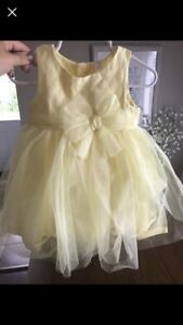 Baby girls yellow party dress - size 6-12 months