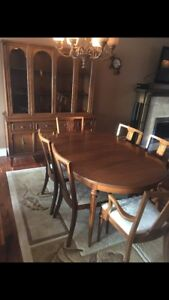 Matching Antique English Table Set and Hutch