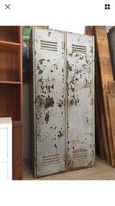 Vintage Metal 2 Door School Gym Locker Cabinet Shelves Wardrobe Queenstown Port Adelaide Area Preview