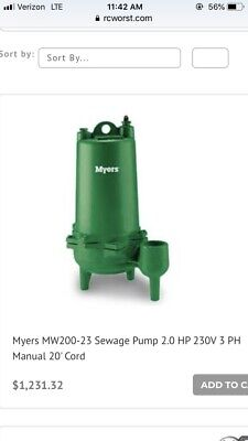 Myers Submersible Pump. Mw 200-23