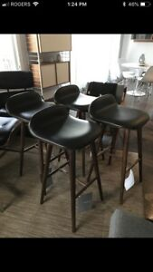 New w/Tags Article Furniture Black Walnut & Leather Bar Stools