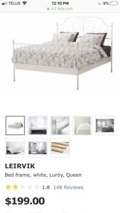 Ikea Queen Bed Frame and Slats - like new