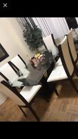 Selling solid wood glass dining table with white leather chairs