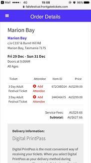 Falls Festival Marion Bay 3 tickets