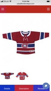 Authentic Montreal Canadiens Jersey 12-24 months