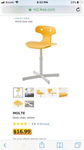 2 IKEA MOLTE desk chairs (yellow)
