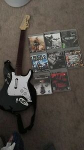*MINT* SLIM PS3 W/ 9 GAMES +  GUITAR + MOVE ITEMS
