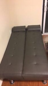 Grey faux leather couch/futon London Ontario image 3